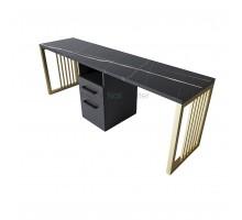 Маникюрный стол на 2 мастера black&gold серия «Loft - Nail» LN-16