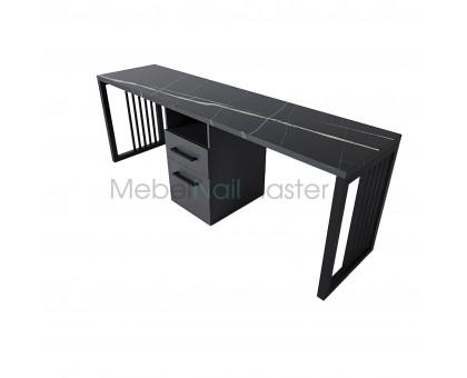 Маникюрный стол на 2 мастера total black серия «Loft - Nail» LN-15
